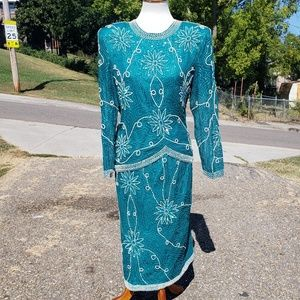 Vintage Sequined and Beaded Skirt and Top Set